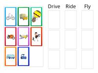 Sort the vehicles: drive, ride or fly