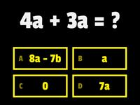 Algebra - simple addition and subtraction