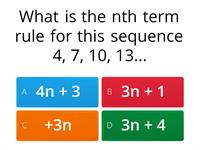 Nth term and sequence quiz
