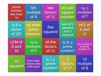 multiples, factors, squares, prime numbers