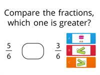 Comparing Fractions with common denominators