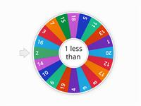 1 less than 1-20/  spin and say, 1 less than _ is _. Press eliminate each time until all have gone.