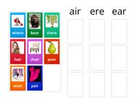 air, ere and ear sorting