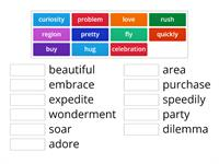 synonyms for adjectives,verbs, and nouns