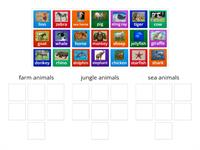 animal sorting (farm,jungle,sea)