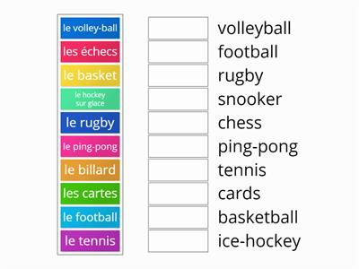 Expo 1 - Unit 6 - 1 Sports vocab match up
