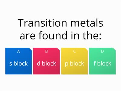 Transition metal multi choice