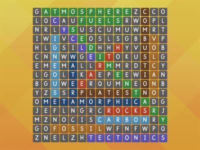 Earth Chemistry Wordsearch