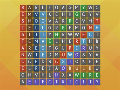 Electricity wordsearch