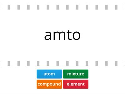 atoms and elements word jumbles