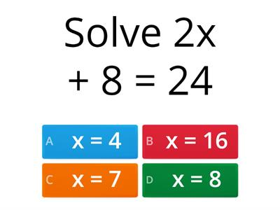 solving linear equations quiz