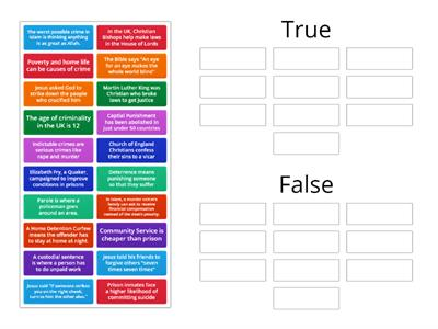 Crime true or false revision quiz
