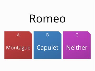 Romeo and Juliet characters which family quiz