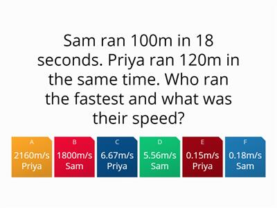 Speed, Distance, Time and Acceleration Quiz