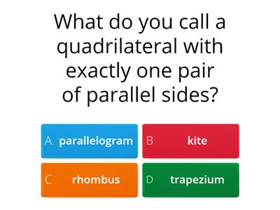 Mixed quiz - quadrilaterals and types of number