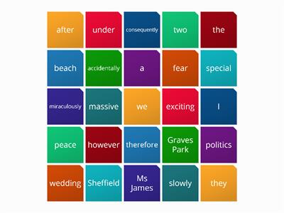 word class grid without verbs