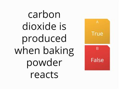 baking powder reaction quiz