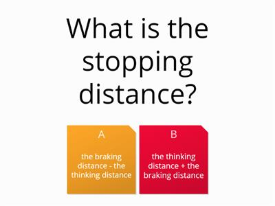 stopping distance quiz