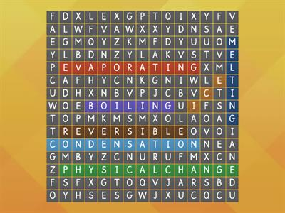 Physical Change Wordsearch