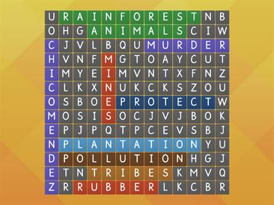rainforest wordsearch