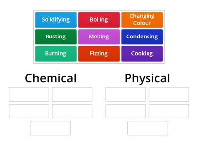 Physical or chemical category sort