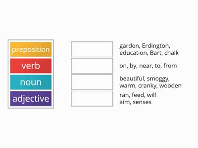 adjective noun verb preposition revision
