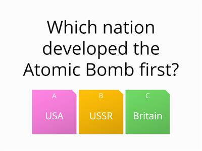 Arms race quiz