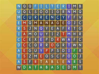 ict database word wordsearch