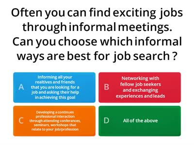 Job Search Word Wall Quiz