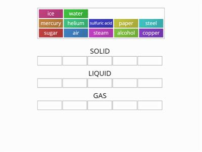 Solid, Liquid or Gas