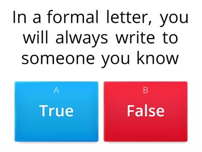 formal letter writing quiz