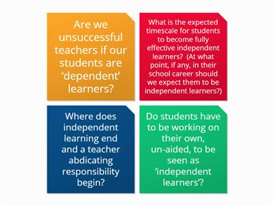 staff views on independent learning-  data collection