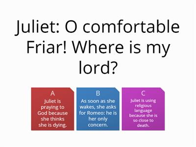 Act 5 Romeo and Juliet quiz on character PART 2