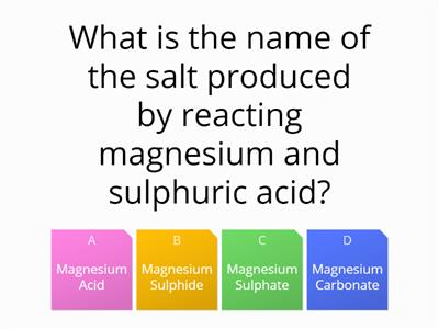 metal reactions quiz
