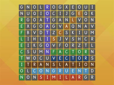 transformations - key words wordsearch