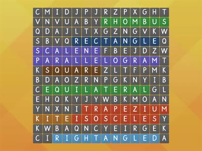 Special Triangles and Quadrilaterals Wordsearch