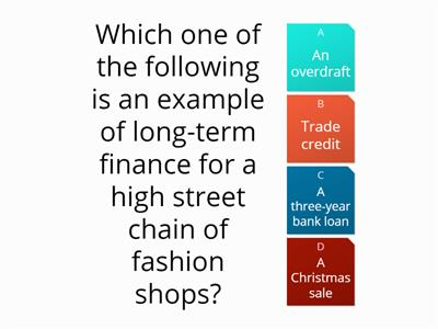 Obtaining Finance - Test Yourself Quiz