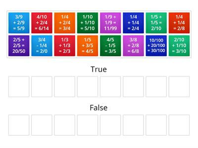 adding fractions true or false