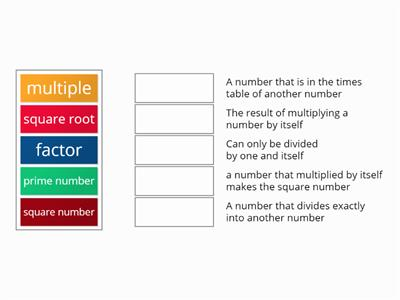 definition matching square, prime, factor, multiple