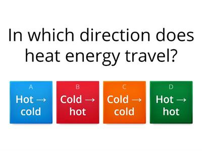 Heating + Cooling Multiple Choice WordWall Quiz