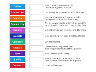 GCSE Exam Command Words Extension