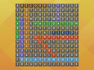 Database Terms Wordsearch