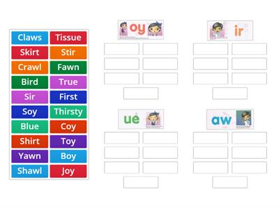 Language Game Phonics - oy, ir, ue, aw