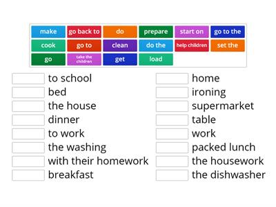 Solutions elementary unit 1c Housework