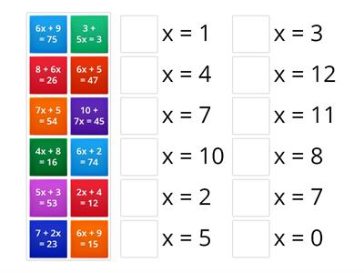 Matching - Solving 2 Step Equations
