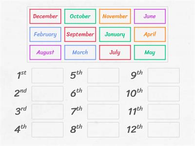 Months of the year RANK ORDER