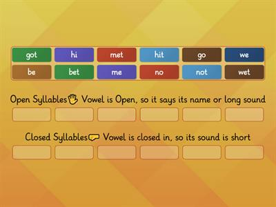 Closed or Open Syllables?