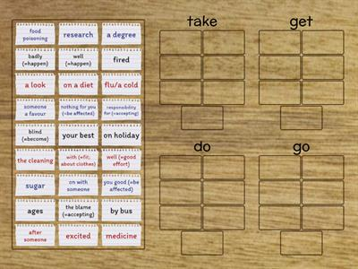 Collocations with take, get, do and go