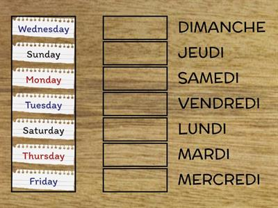 Jours de la semaine/Days of the week