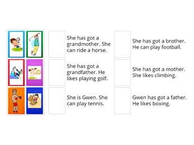 MATCH THE SENTENCES WITH THE PICTURES